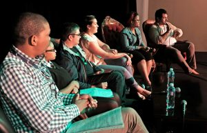 Stellenbosch. 4.3.17. A panel made up of high school and tertiary students in a discussion about the future of Afrikaans at the University of Stellenbosch Woordfees held on Saturday at the Drosdy Teater in the town. From left are Esra Plaatjies, Shenique Wehr, Bernard Pieters, Susann Marais, Mercia Kannemeyer and the facilitator Marius Swart. Picture:Ian Landsberg