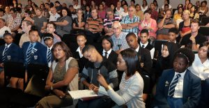 Stellenbosch. 4.3.17. A lively discussion involving students in the audience at the US Woordfees after a panel made up of high school and tertiary students discussed the future of Afrikaans. The session was held on Saturday at the Drosdy Teater in the town. Picture:Ian Landsberg